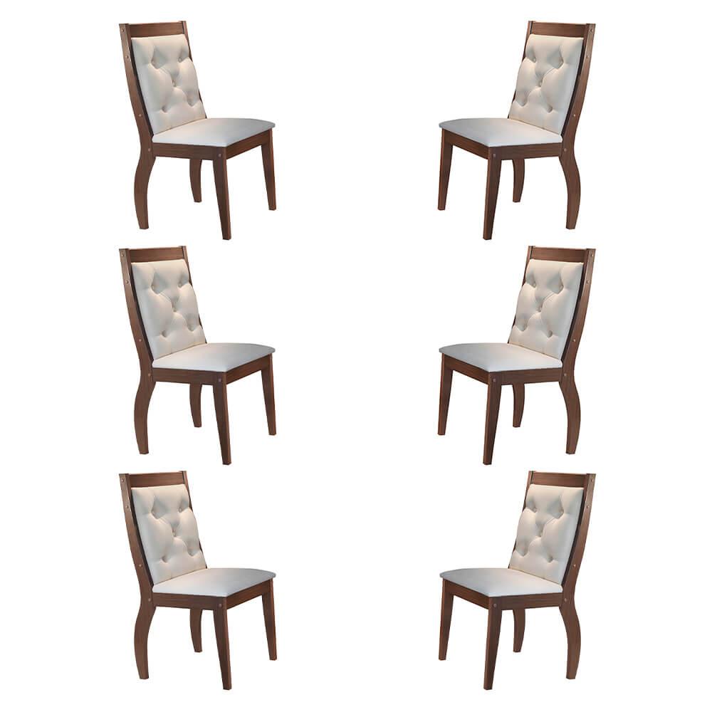 Conjunto Com 6 Cadeiras Agata Cor Café Rufato Móveis