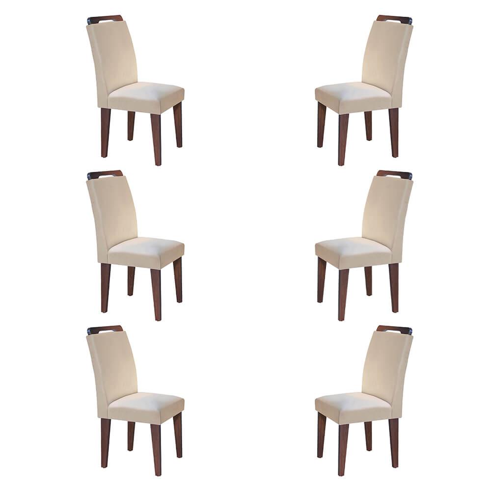 Conjunto Com 6 Cadeiras Athenas Cor Café Rufato Móveis