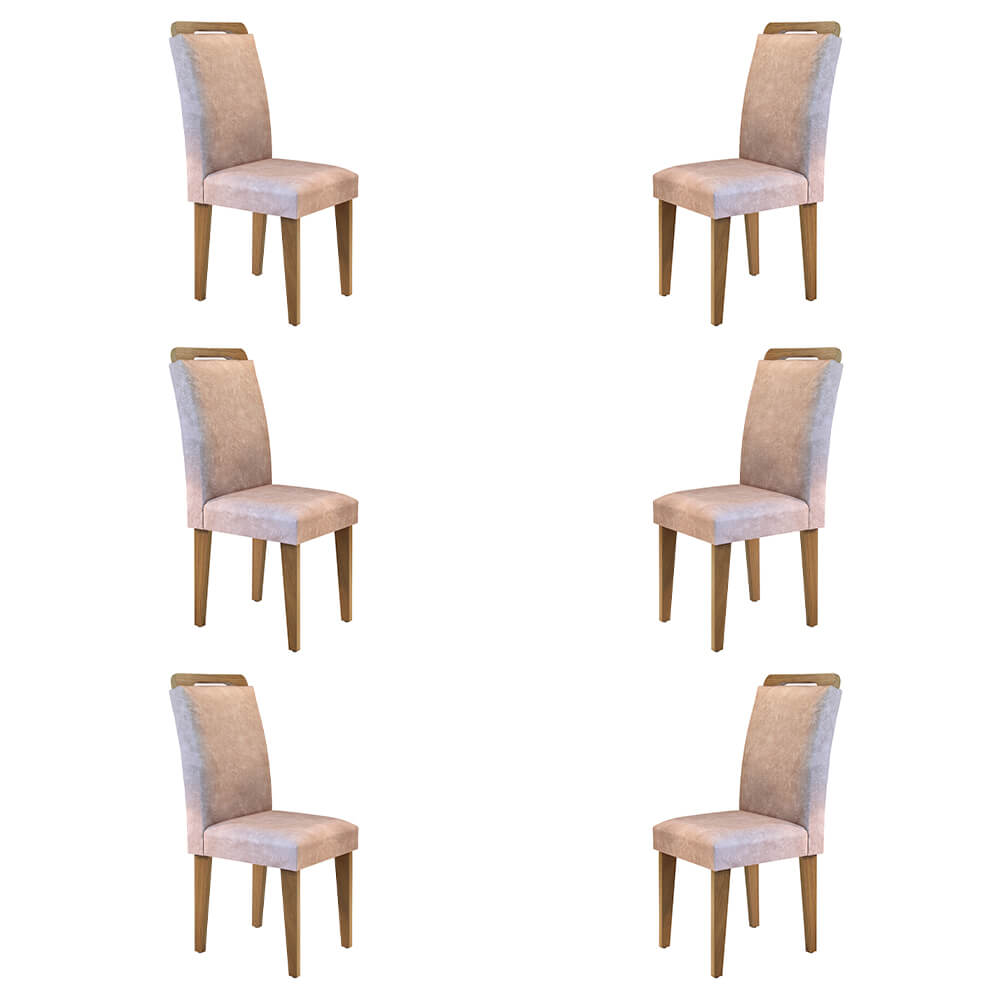 Conjunto Com 6 Cadeiras Athenas Cor Imbuia Rufato Móveis