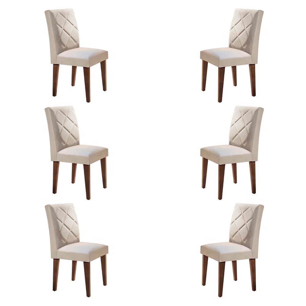 Conjunto Com 6 Cadeiras Berlim Cor Café Rufato Móveis