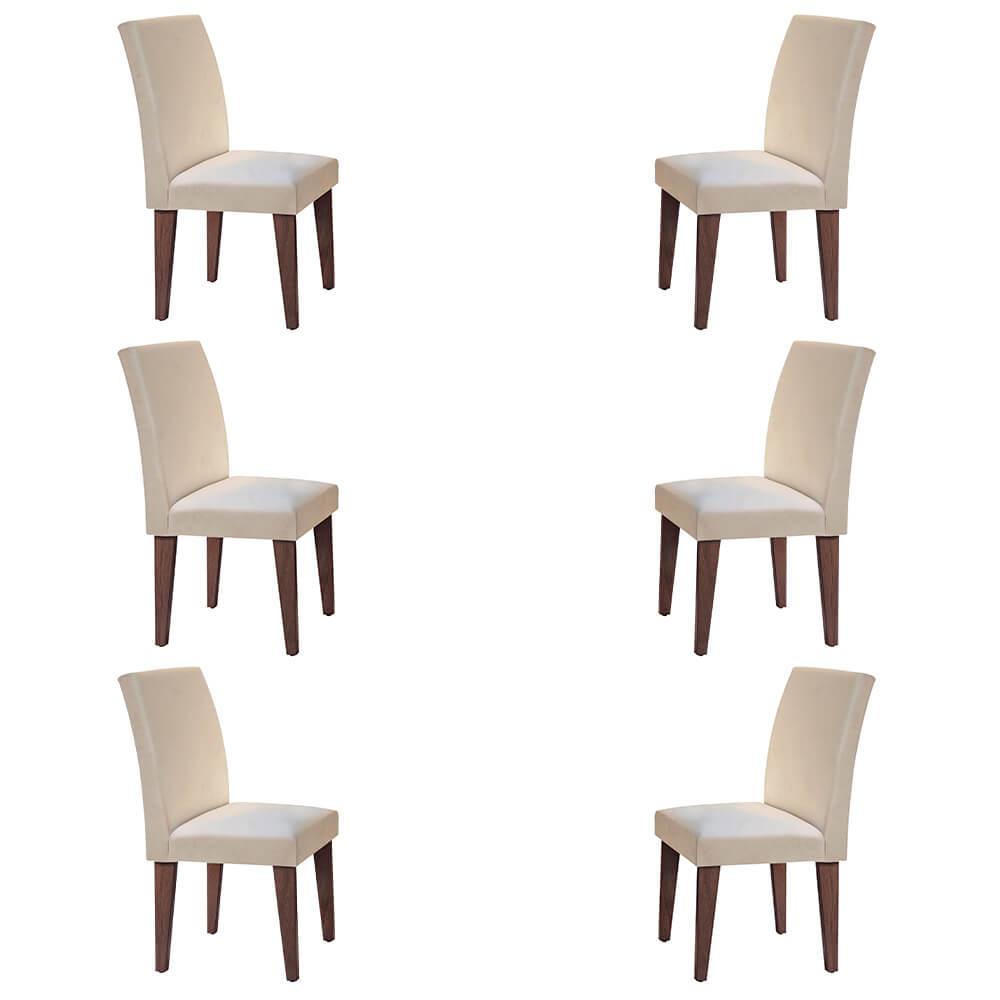 Conjunto Com 6 Cadeiras Grécia Cor Café Rufato Móveis