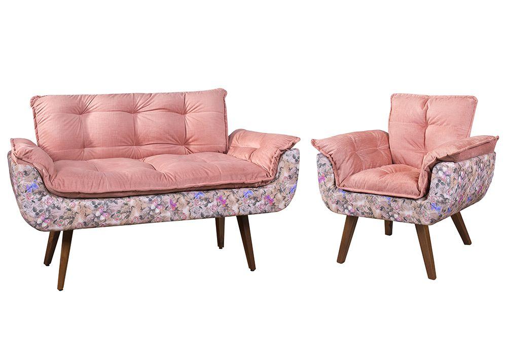 Conjunto de Poltronas Opala Tecido Floral Rosa Pés Palito