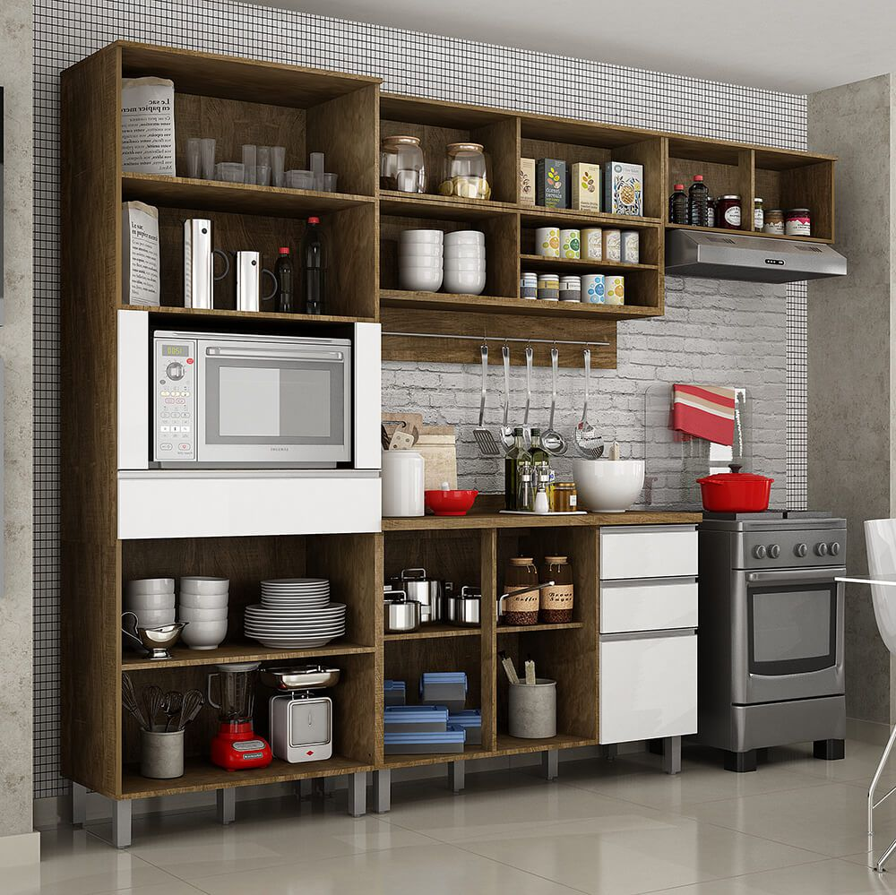 Cozinha Compacta 4 Peças Paneleiro Com Nicho, Armários Aéreos E Balcão Turquesa Valdemóveis