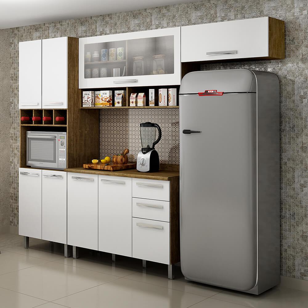 Cozinha Modulada 4 Peças Pérola 9 Portas 2 Gavetas Valdemóveis