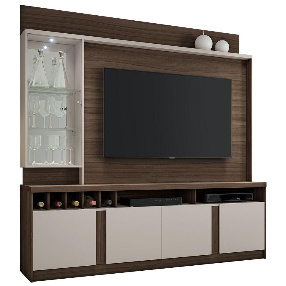 Estante Home para TV até 60 Polegadas com LED Canastra JCM Móveis Imbuia Off