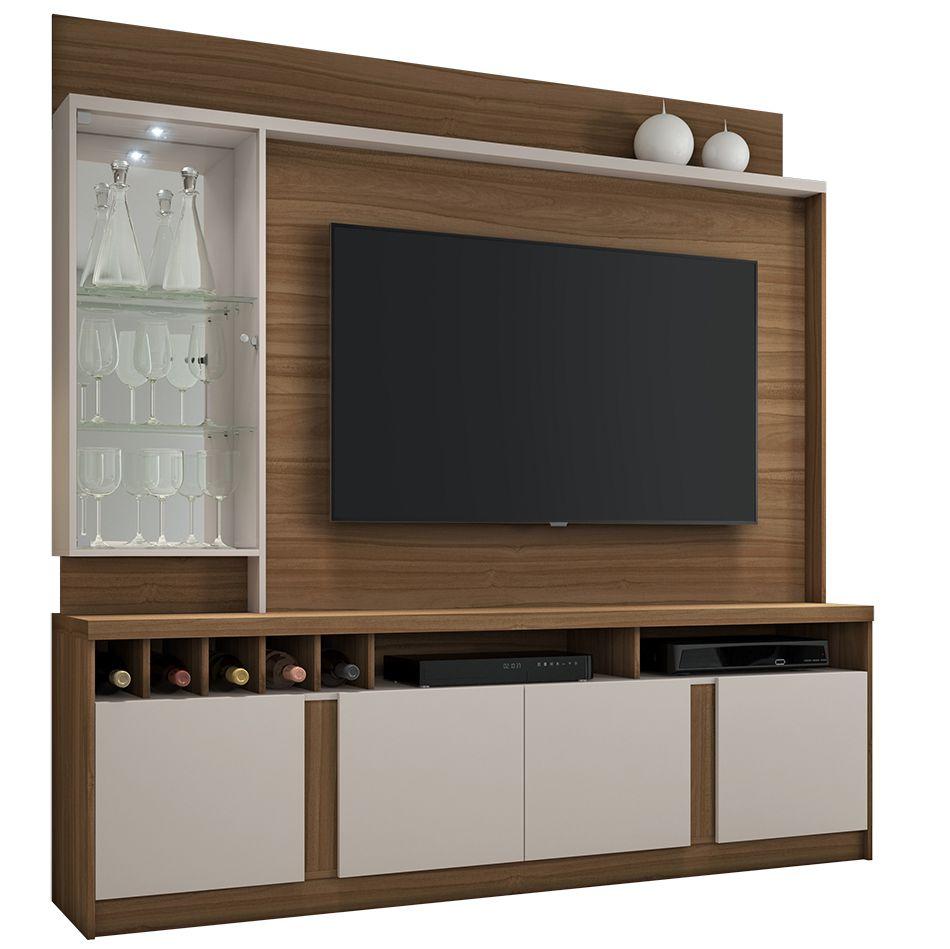 Estante Home para TV até 60 Polegadas com LED Canastra JCM Móveis Rovere Off