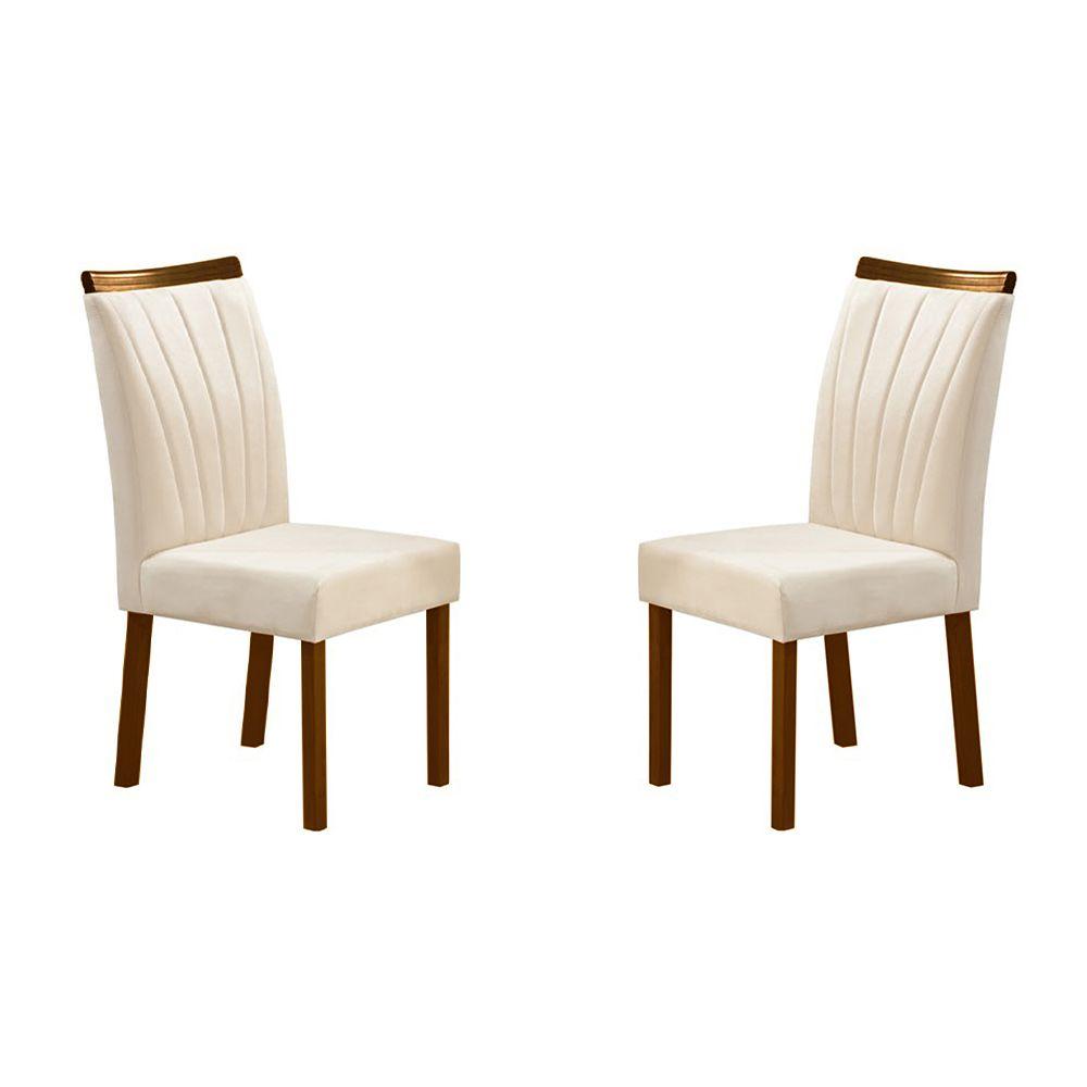 Kit Com 2 Cadeiras Alice Com Pés Cor Castanho Minas Decor