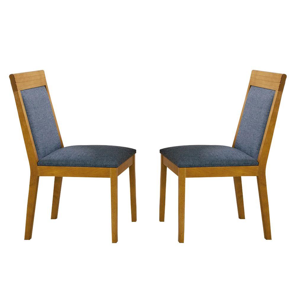 Kit Com 2 Cadeiras Letícia Tecido Azul E Pés Em Madeira Minas Decor