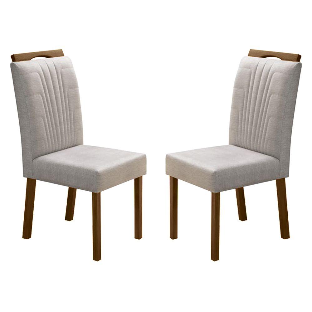 Kit Com 2 Cadeiras Nicole Com bordado E Pés Cor Castanho Minas Decor