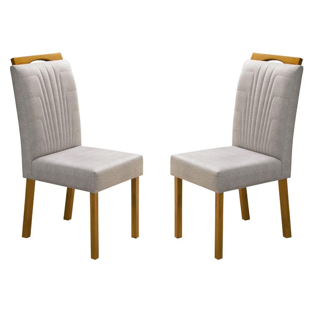 Kit Com 2 Cadeiras Nicole Com bordado E Pés Em madeira Minas Decor