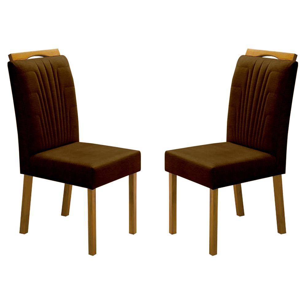 Kit Com 2 Cadeiras Nicole Com bordado Escama E Pés Em madeira Minas Decor