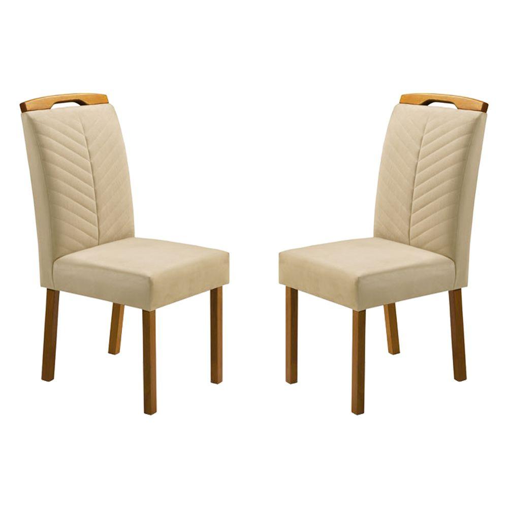 Kit Com 2 Cadeiras Priscila Cor Bege Com Bordado E Pés Em Madeira Minas Decor
