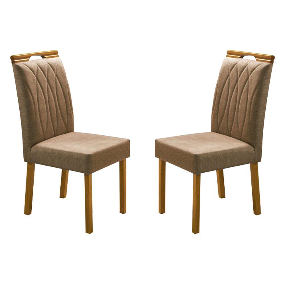 Kit Com 2 Cadeiras Suelem Com Bordado Pés Em Madeira Minas Decor