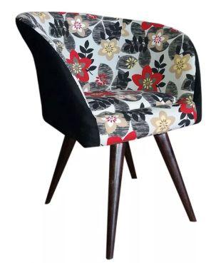 Poltrona Decorativa Afrodite Pés Palito Floral com Preto - Casa dos Móveis Ubá