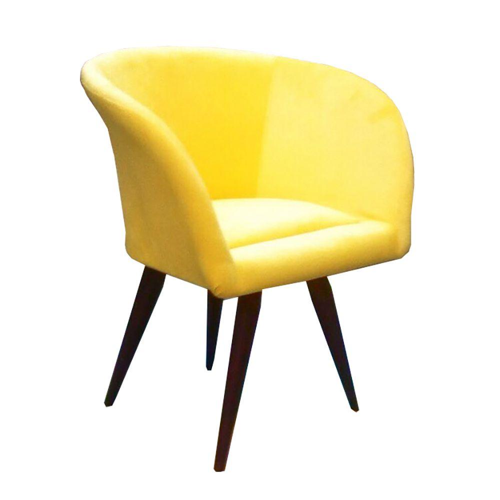 Poltrona Decorativa Afrodite Tecido amarelo Pés Palito cor Tabaco - Casa dos Móveis Ubá
