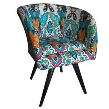 Poltrona Decorativa Afrodite Tecido Floral Colorido Pés Palito cor Tabaco - Casa dos Móveis Ubá