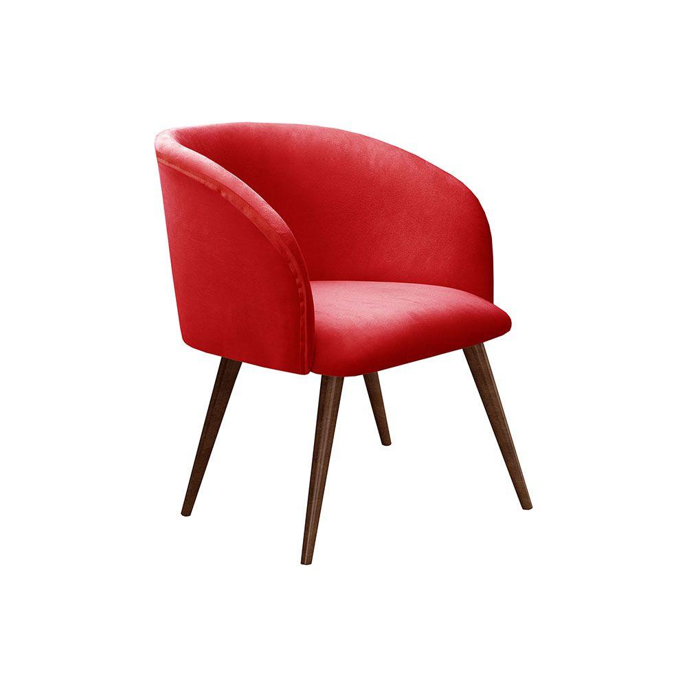 Poltrona Decorativa Atenas Tecido Vermelho Pés Palito Bella Decor