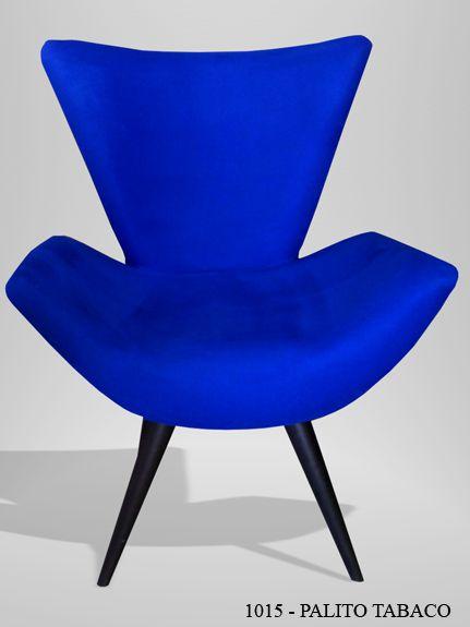 Poltrona Decorativa Chronus Azul - Casa dos Móveis Ubá