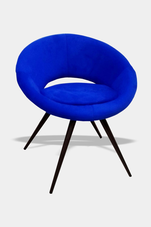 Poltrona Decorativa Cibele Tecido Azul Bic Pés Palito - Casa dos móveis Ubá