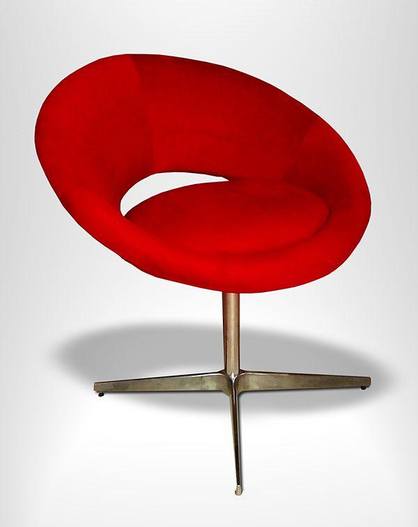 Poltrona Decorativa Cibele Tecido Vermelho Giratória - Casa dos Móveis Ubá