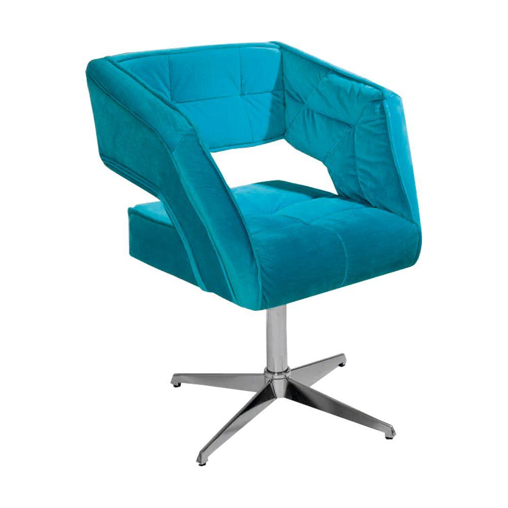 Poltrona Decorativa Eros Cor Azul Turquesa Giratória - Casa dos Móveis Ubá