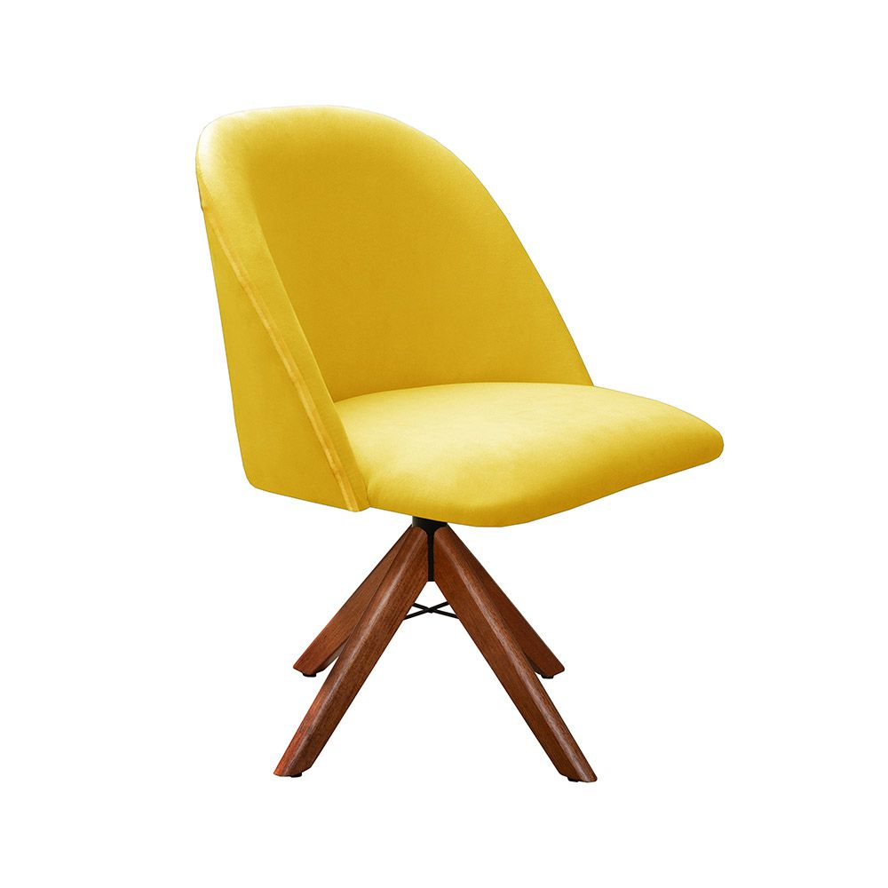 Poltrona Decorativa Gaia Tecido Amarelo Base Giratória em madeira Bella Decor