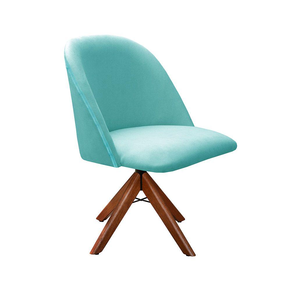 Poltrona Decorativa Gaia Tecido Azul Base Giratória em madeira Bella Decor