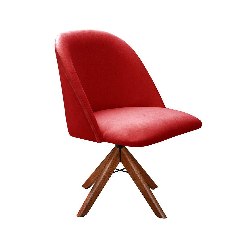 Poltrona Decorativa Gaia Tecido Vermelho Base Giratória em madeira Bella Decor