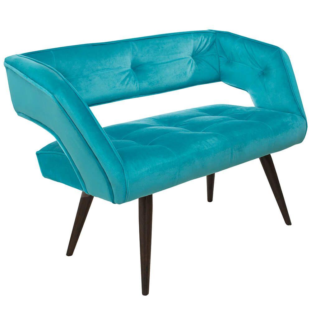 Poltrona Decorativa Namoradeira Eros Tecido Azul Pés Palito