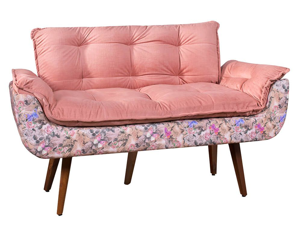 Poltrona Decorativa Namoradeira Opala Tecido Floral Rosa Pés Palito