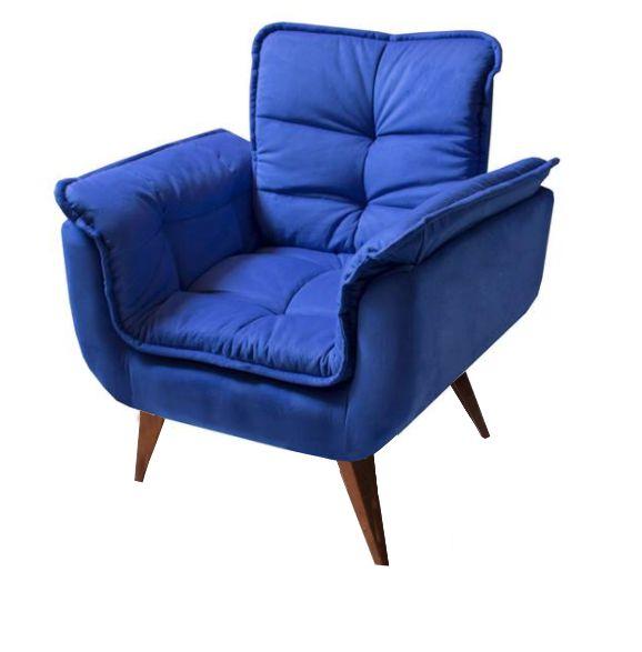 Poltrona Decorativa Opala Cor Azul Pés Palito Imbuia - Casa dos Móveis Ubá