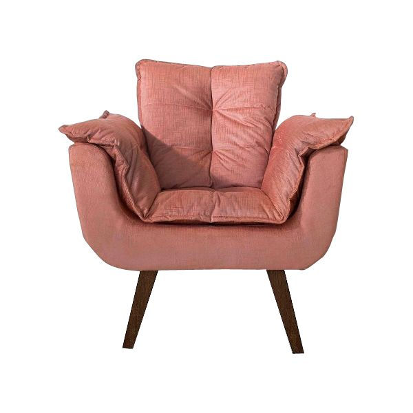 Poltrona Decorativa Opala Cor Rosé Pés Palito Imbuia - Casa dos Móveis Ubá