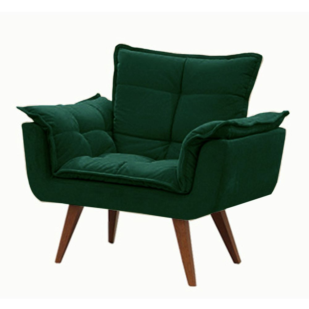 Poltrona Decorativa Opala Cor Verde 508 Pés Palito Cor Imbuia
