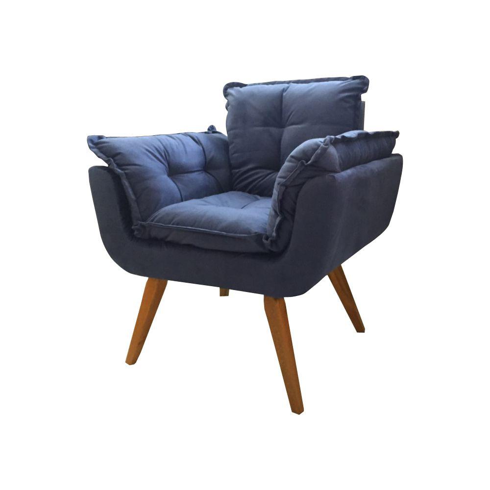 Poltrona Decorativa Opala SOFT Cor Azul Escuro Pés Palito Imbuia