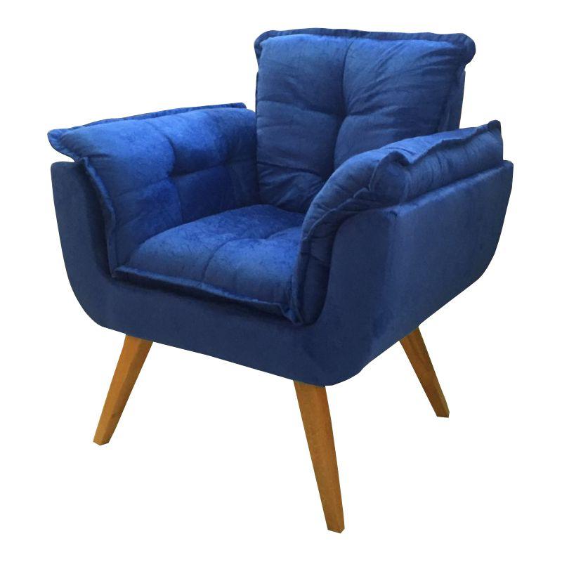 Poltrona Decorativa Opala SOFT Cor Azul Bic Pés Palito Imbuia