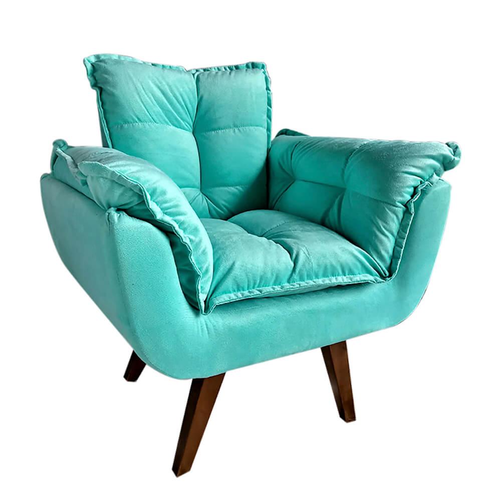 Poltrona Decorativa Opala Tecido Azul Pés Palito cor Imbuia