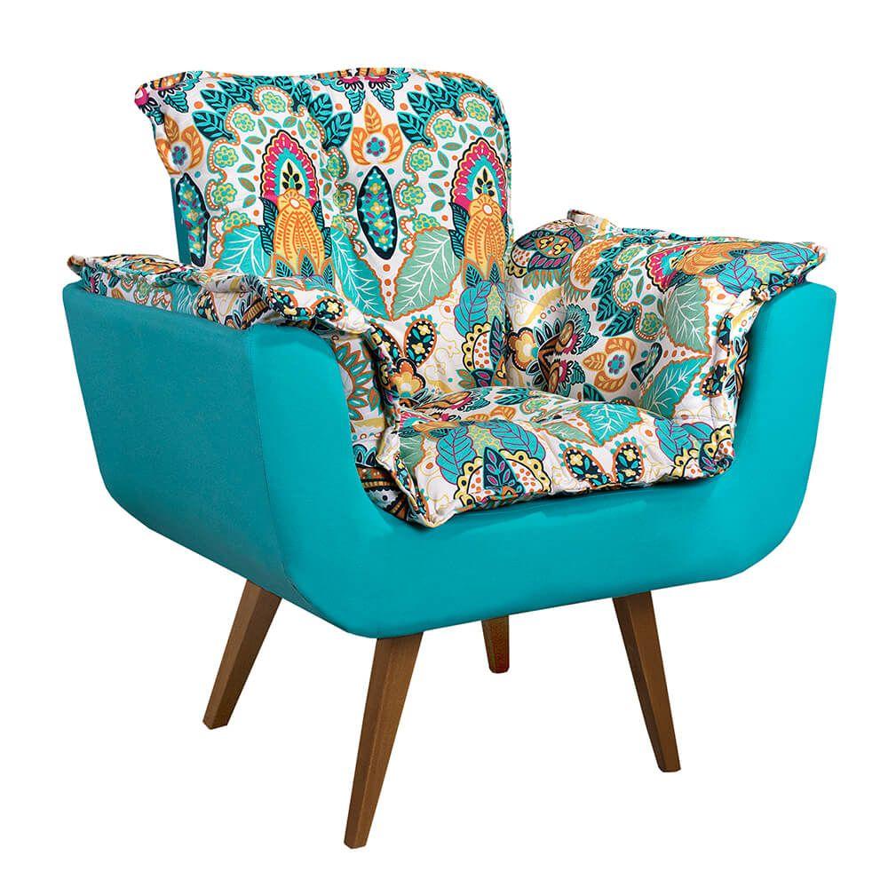 Poltrona Decorativa Opala Tecido Floral Colorido Pés Palito Cor Imbuia - Casa dos Móveis Ubá