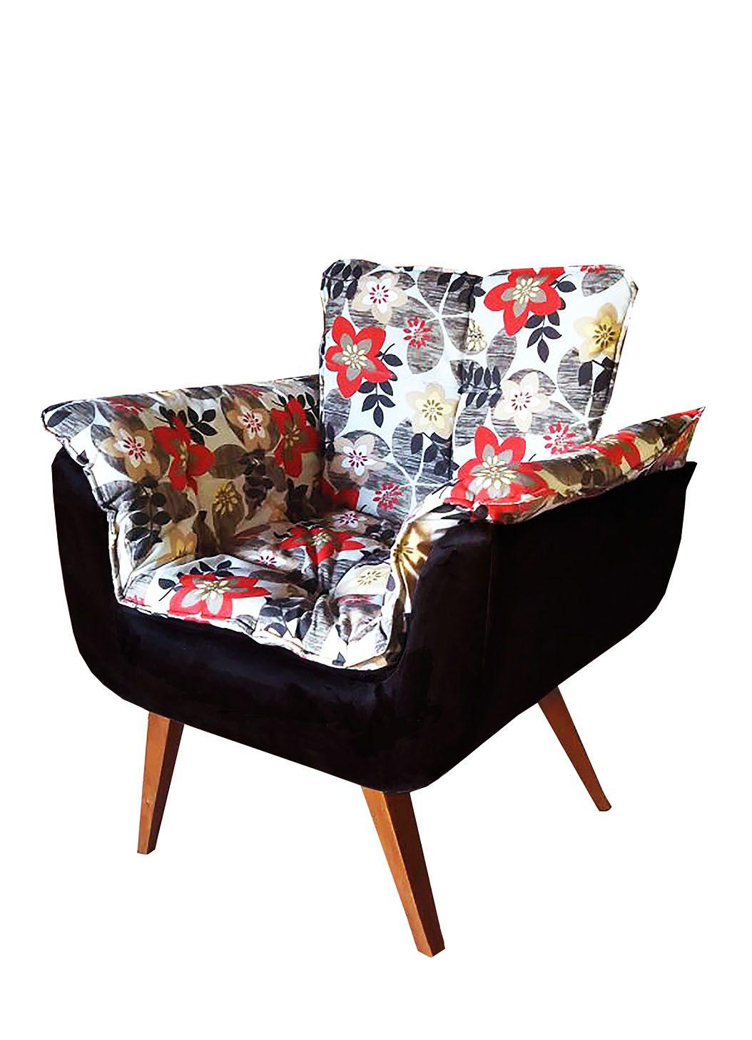 Poltrona Decorativa Opala Tecido Floral com Preto Pés Palito Cor Imbuia - Casa dos Móveis Ubá