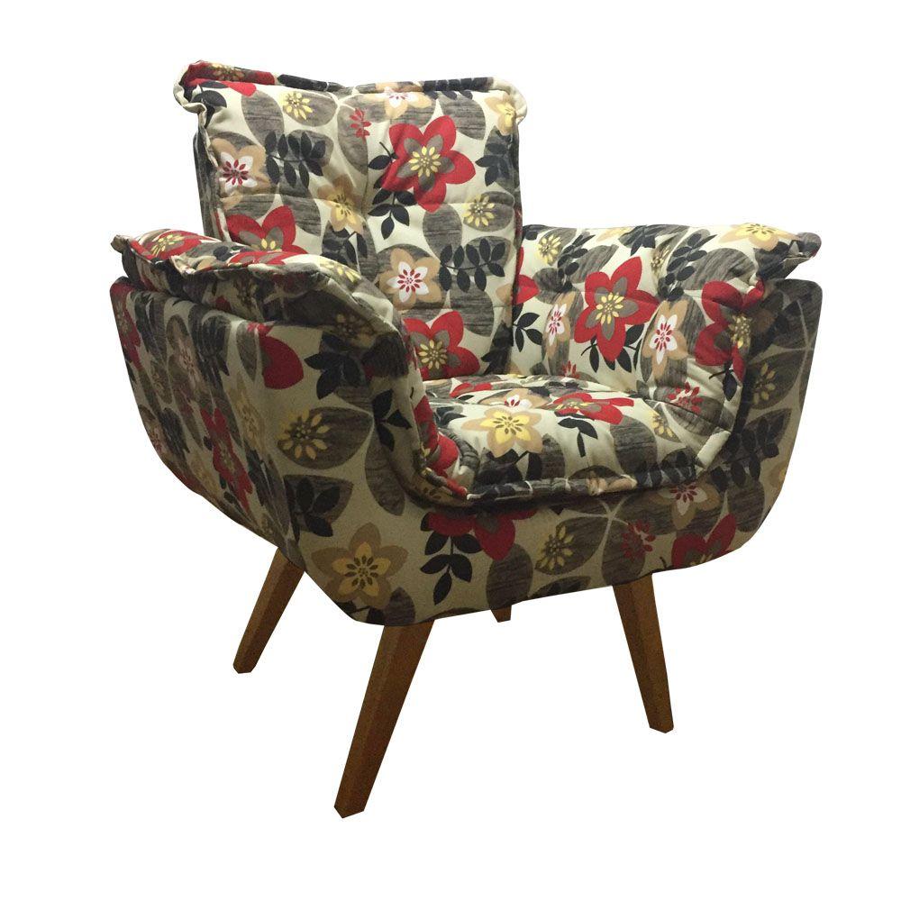 Poltrona Decorativa Opala Tecido Floral Pés Palito Cor Imbuia - Casa dos Móveis Ubá