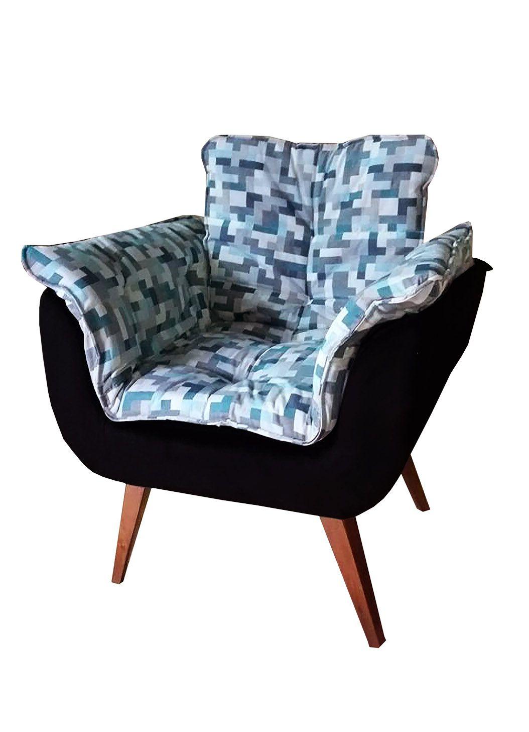Poltrona Decorativa Opala Tecido Geométrico Azul com Preto Pés Palito Cor Imbuia - Casa dos Móveis Ubá