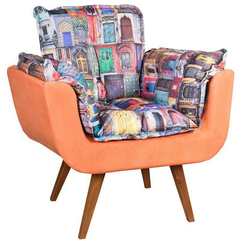 Poltrona Decorativa Opala Tecido Retrô com Laranja Pés Palito Cor Imbuia - Casa dos Móveis Ubá