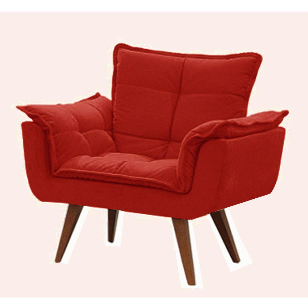Poltrona Decorativa Opala Tecido Vermelho Pés Palito Cor Imbuia - Casa dos Móveis Ubá