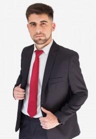 Terno Masculino Slim Fit Microfibra Preto Com Detalhe Jordhan