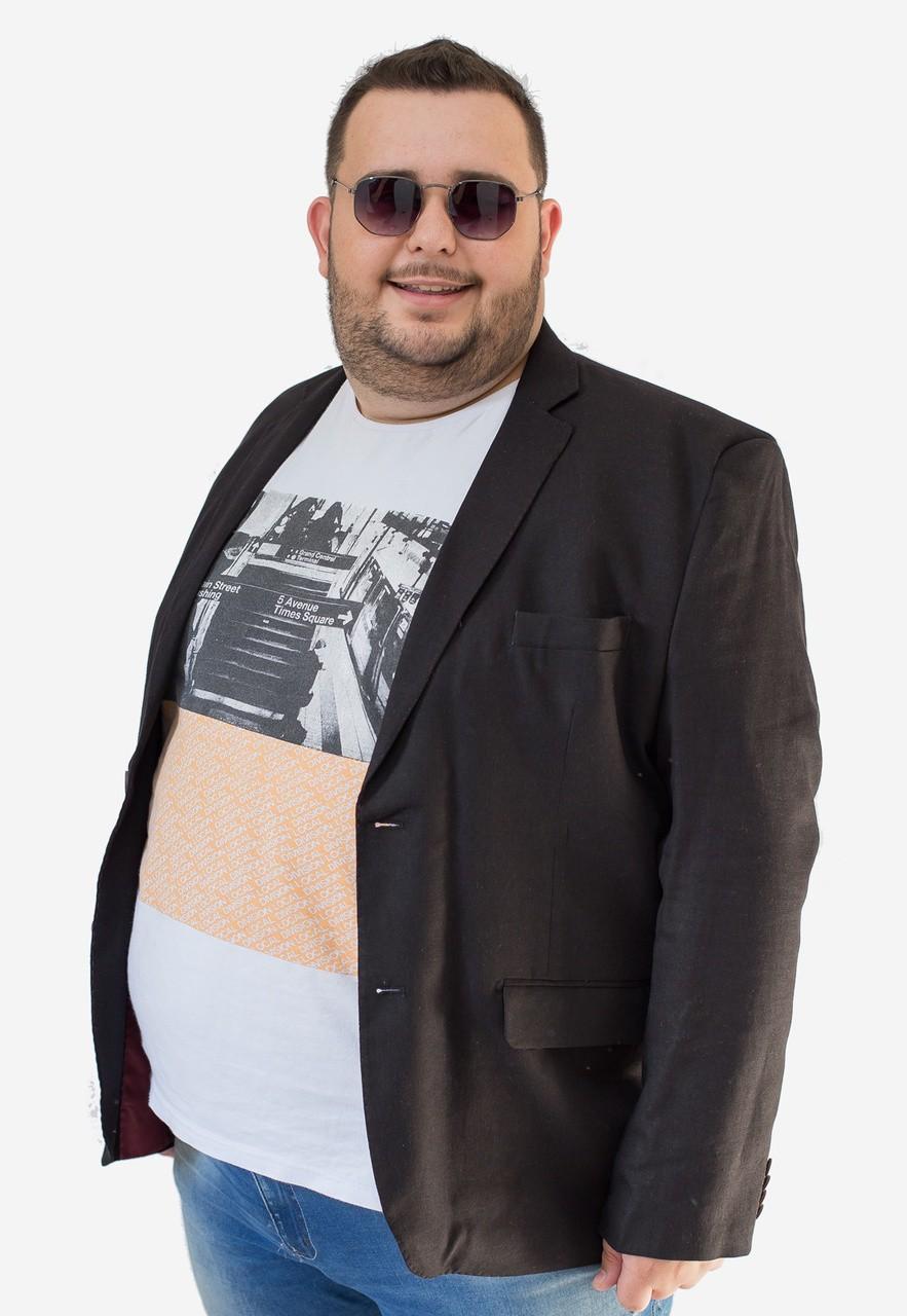 Blazer Jordhan Masculino Slim Viscose Linho Preto