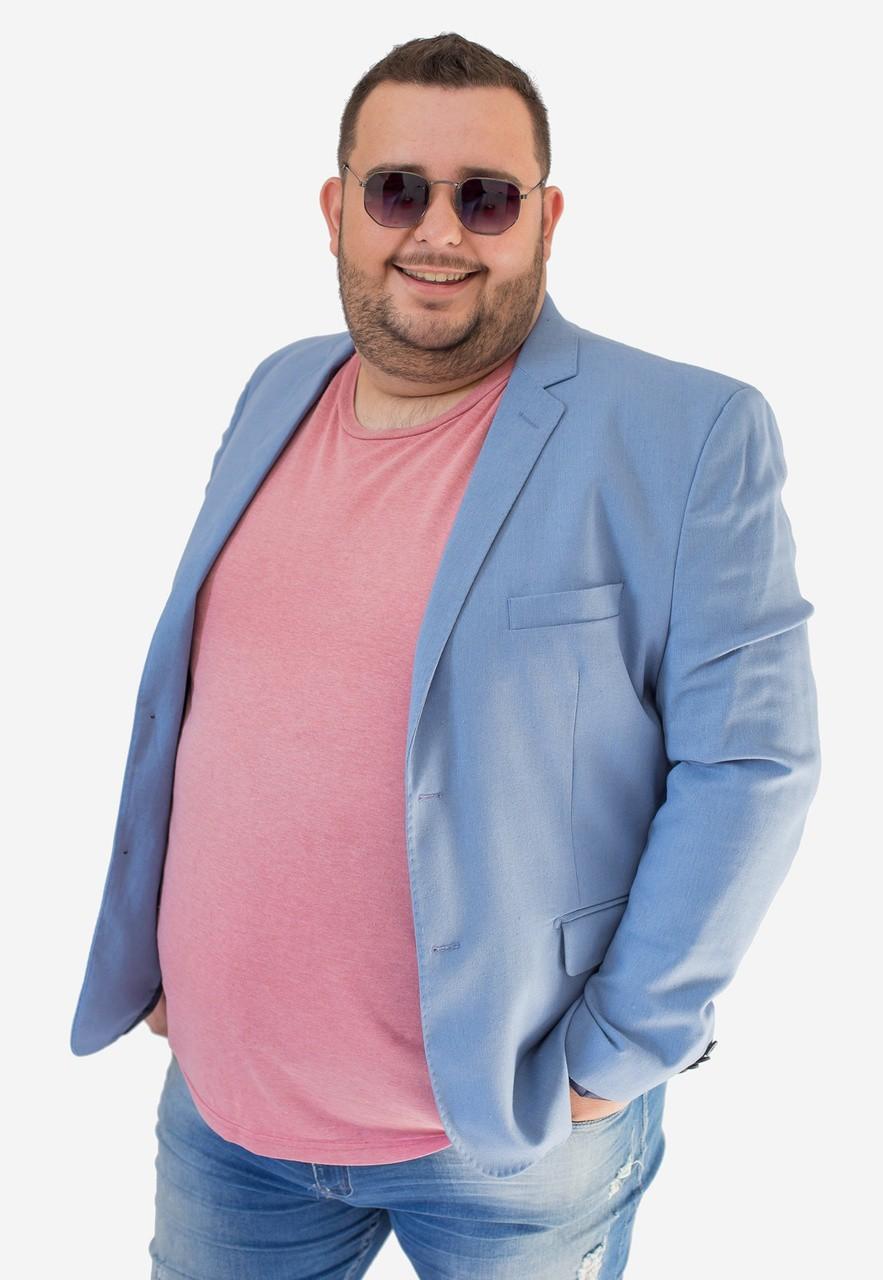 Blazer Jordhan Slim Masculino Azul Claro Viscose Linho
