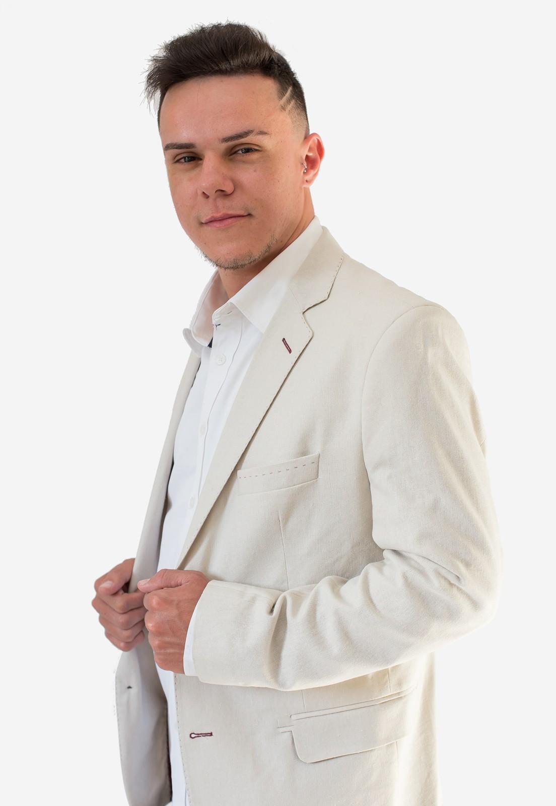 Blazer Masculino Slim Bege Jordhan