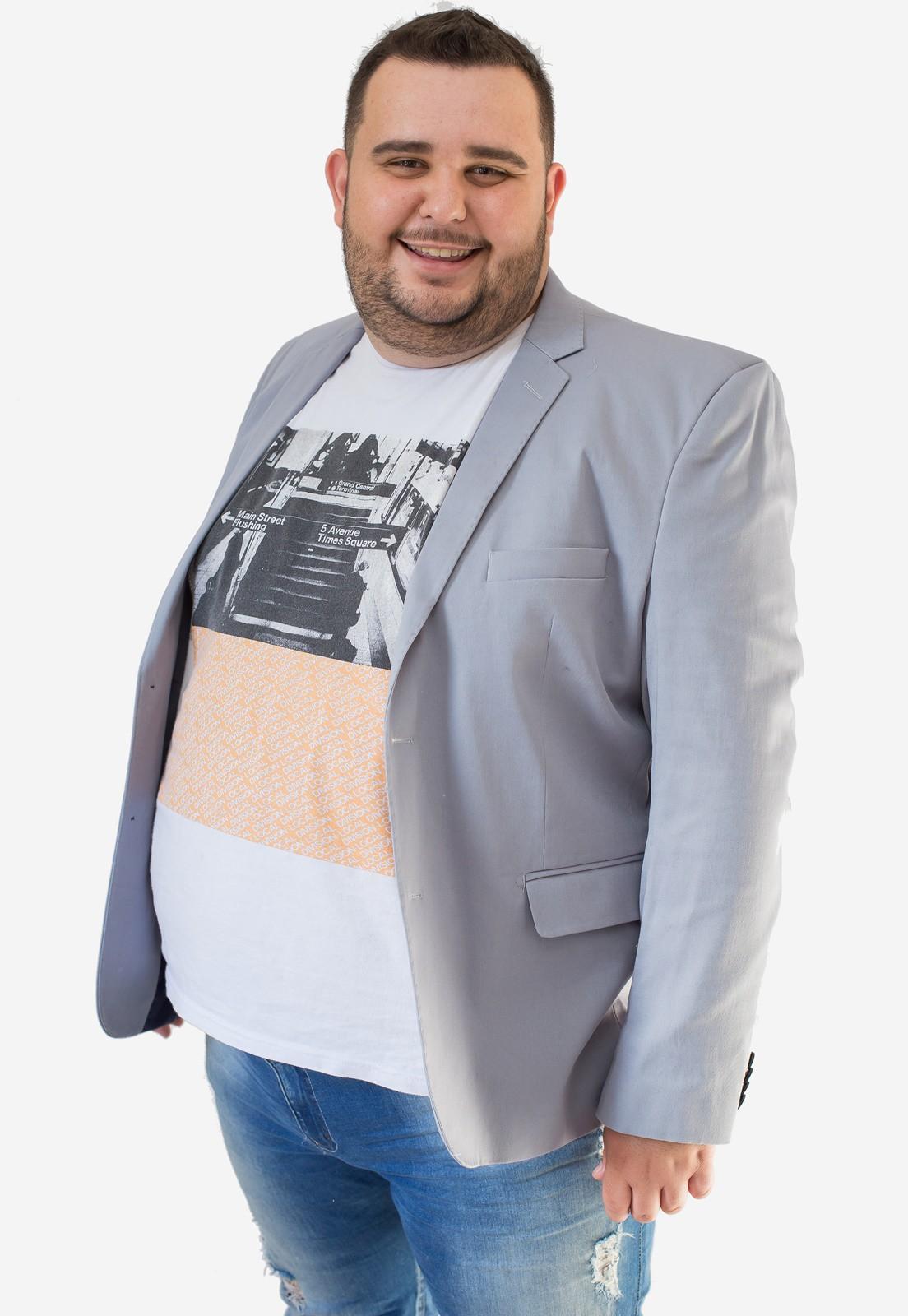 Blazer Masculino Slim Plus Size Cinza Jordhan