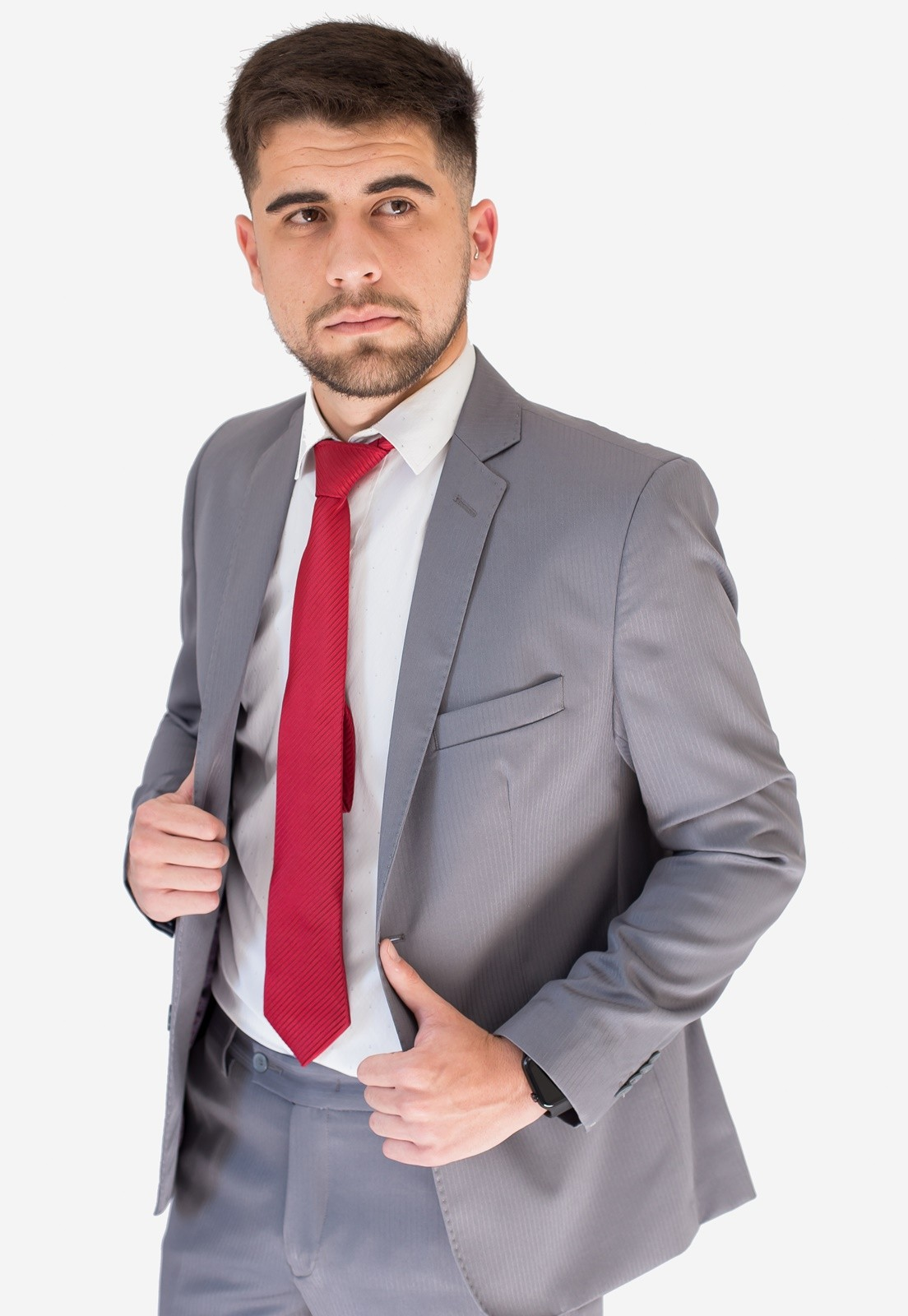 Terno Jordhan Cinza Claro Microfibra Masculino Slim Fit