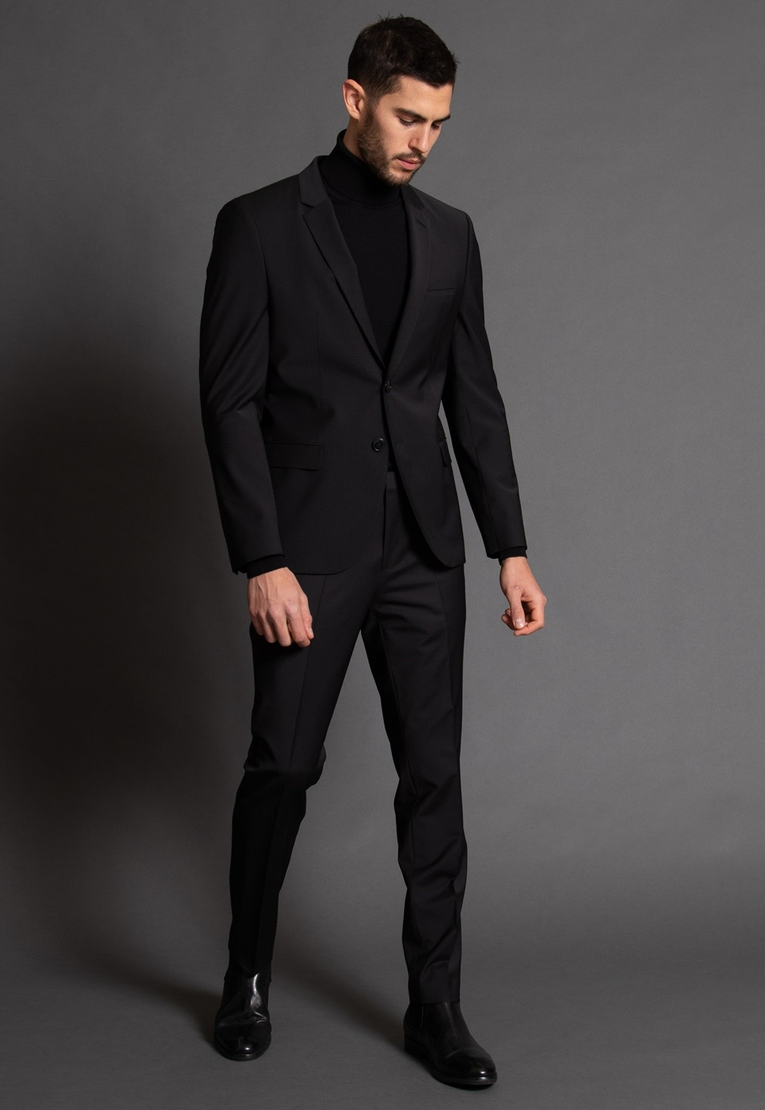 Terno Masculino Jordhan Slim Fit Preto Black Microfibra