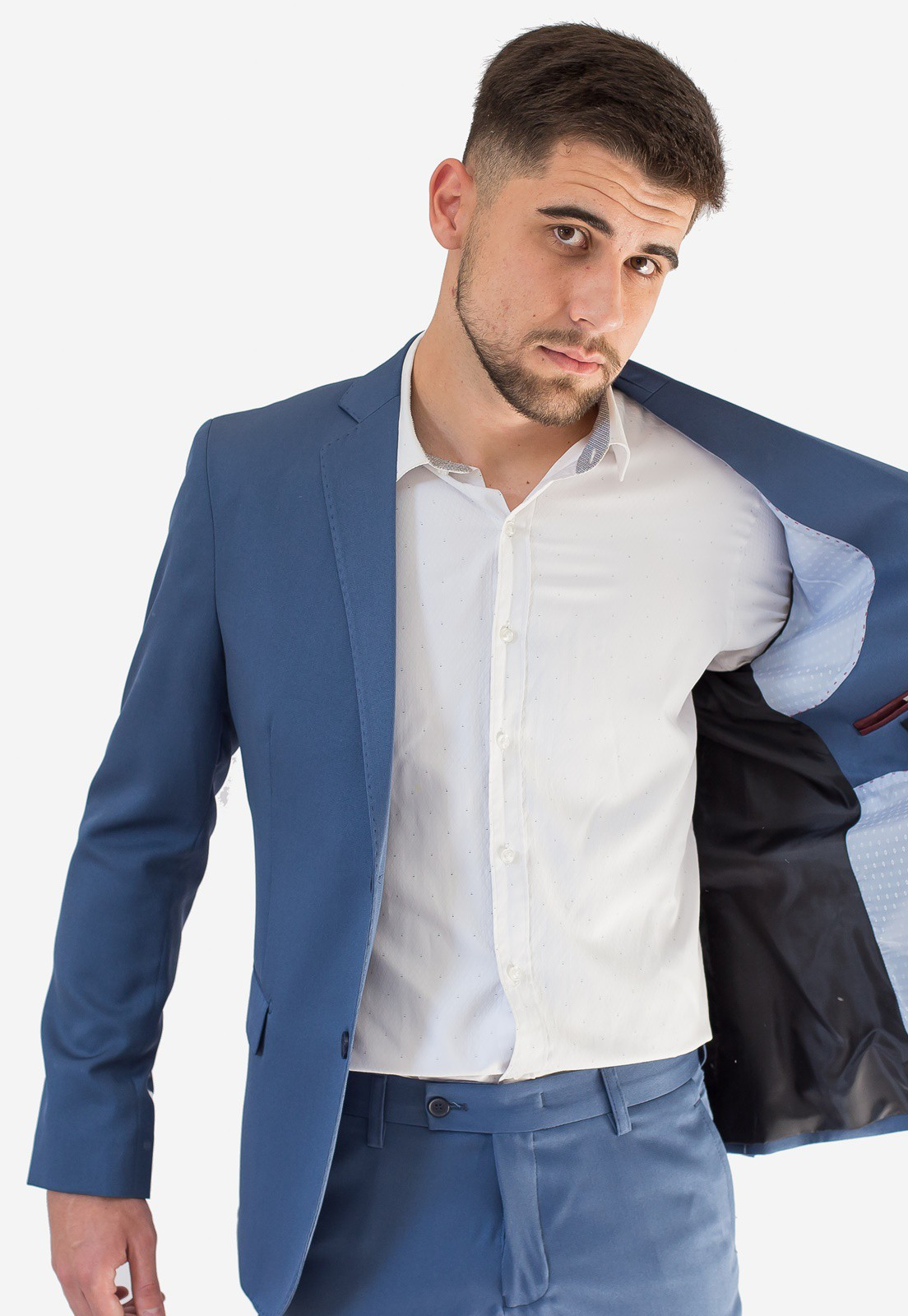 Terno Masculino Slim Fit Microfibra Azul Claro Jordhan